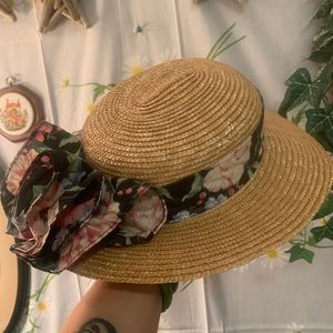 Vintage straw sailing sun hat black ruffle band